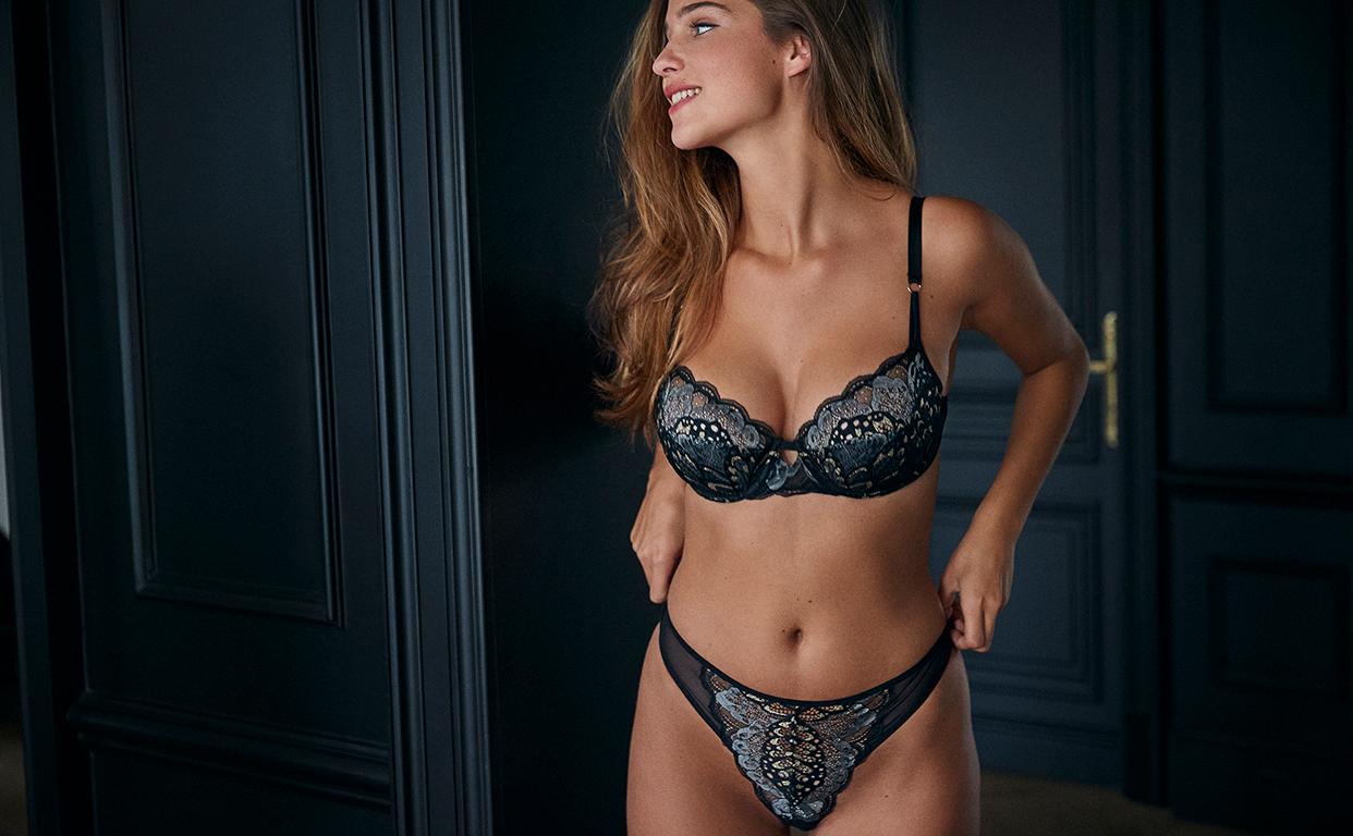 Nouveauté lingerie sexy en dentelle noire et dorée pour poitrines généreuses