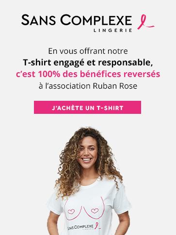 Pour l'achat d'un t-shirt engagé en coton bio 100% des bénéfices sont reversés à l'association Ruban Rose