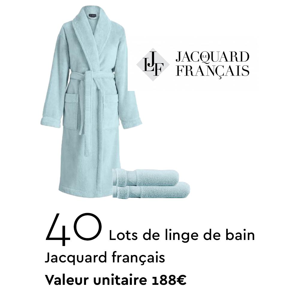 40 Lots de linge de bain Jacquard Français - valeur unitaire 188€