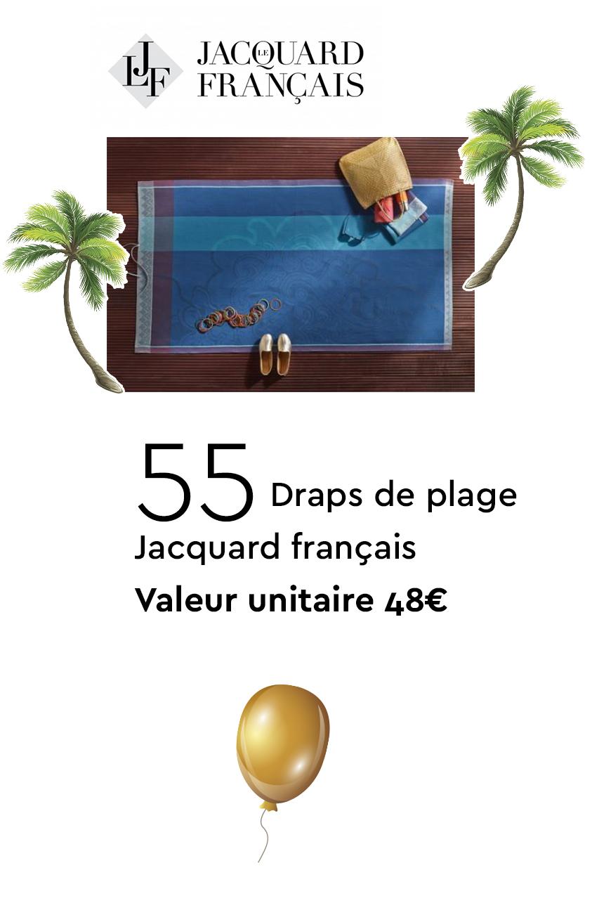 55 Draps de plage Jacquard Français - Valeur unitaire 48€