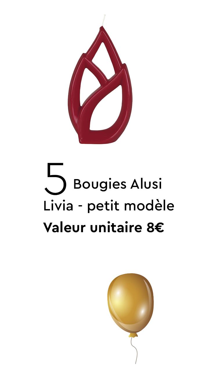 5 Bougies Alusi Livia petit modèle - Valeur unitaire 8€
